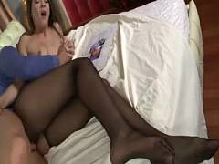 In black pantyhose fucked in