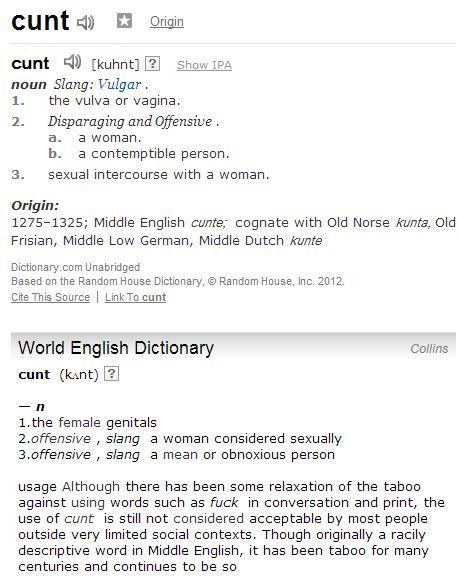 Cunt origin word
