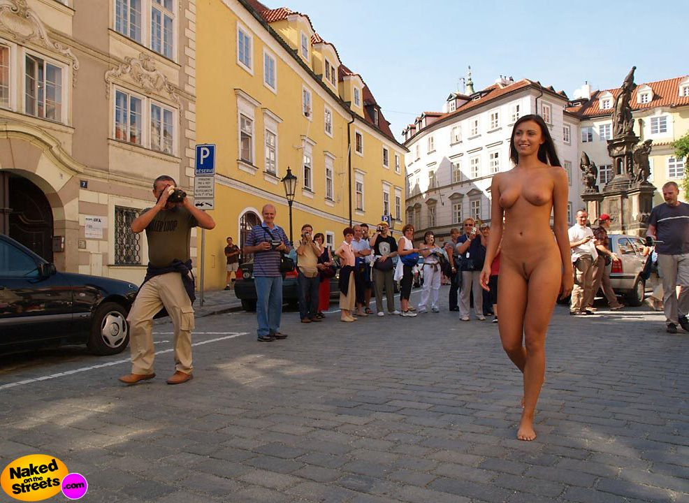 Where naked woman walking down the street theme simply