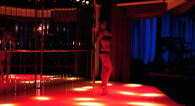Woman on stage with stripper