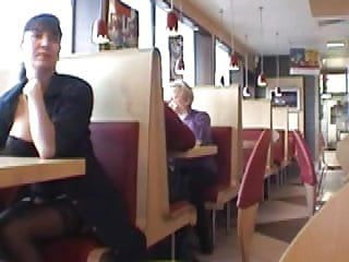Boob flash in restaurant clip