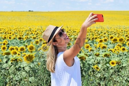 Selfie in the middle of a field