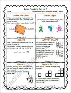 best of Brain math Fun worksheets teaser