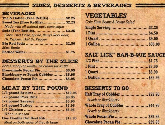 Salt lick menu